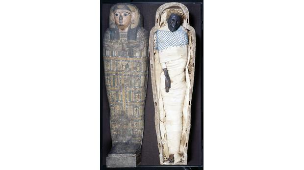 The Egyptian mummy Takabuti and her case