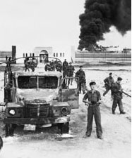 British troops moving through Port Said