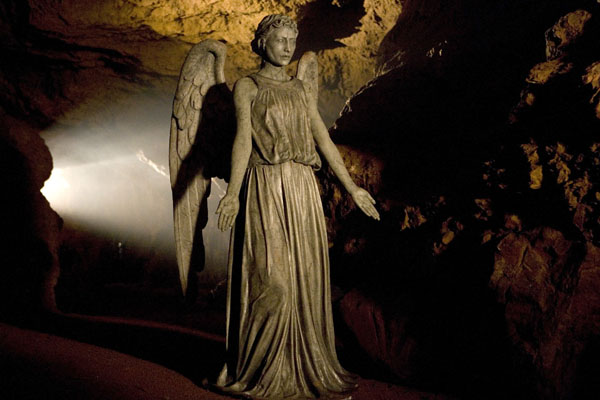 A Weeping Angel bares its fangs in a cave in The Time Of Angels episode