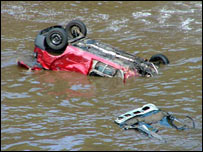 Cars drift into the sea