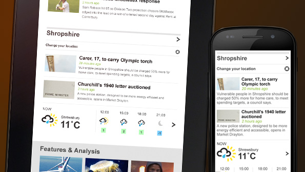 Photo of tablet and smartphone, both showing news and weather for Shropshire