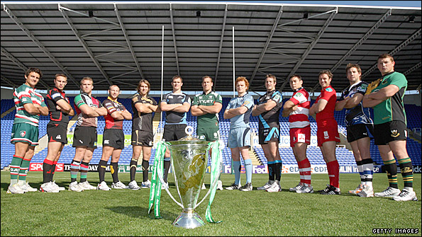 Captains of some of this year's participants eye the Heineken Cup trophy at the British launch of the tournament.jpg