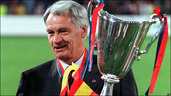 Sir Bobby Robson celebrates winning the European Cup Winners' Cup with Barcelona