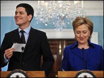US Secretary of State Hillary Clinton and British Foreign Secretary David Miliband