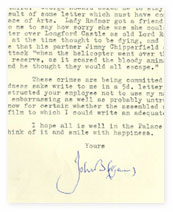 Picture of a letter from Sir John Betjeman to a BBC producer.
