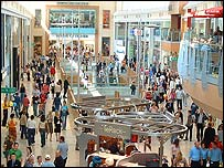 Shoppers explore Chapelfield on its opening day.