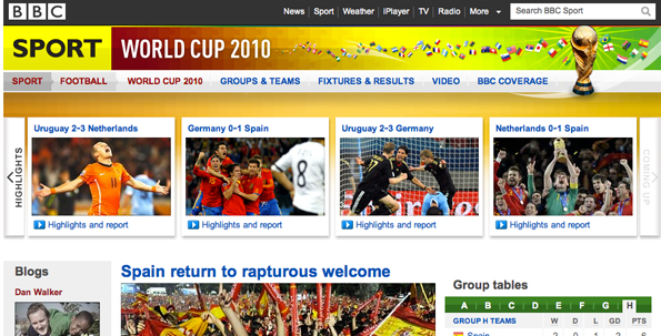 Screenshot of World Cup 2010 website