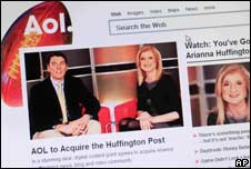AOL website showing a story about its takeover of the Huffington Post