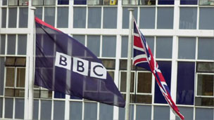 BBC and Union flag outside BCB TV Centre