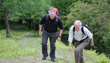 Jim and Derek making their way up a steep section of offa's dyke