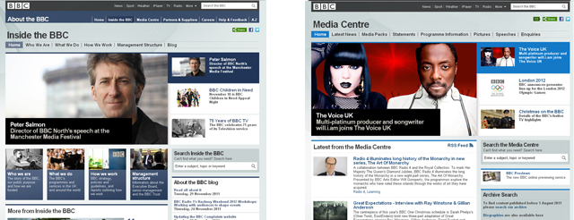 Our solution: the new About the BBC Homepage, and Inside the BBC site