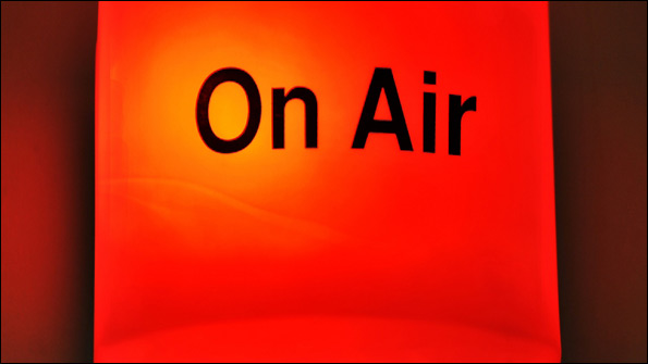 The on air sign outside a radio studio