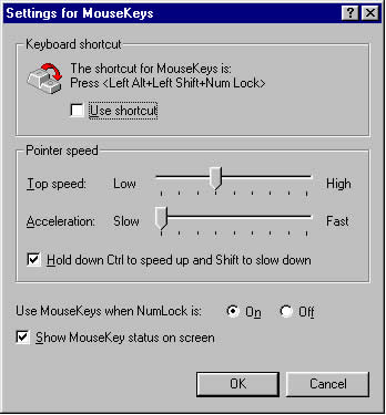 Settings for Mouse Keys Dialog Box