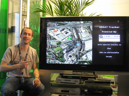 James Sheppard showing the initial prototype on a cable set top box.