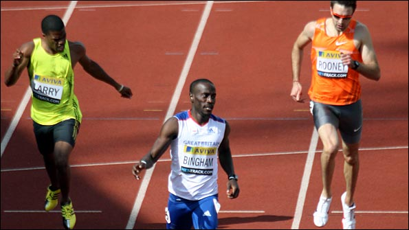 Michael Bingham wins the 400m at Crystal Palace