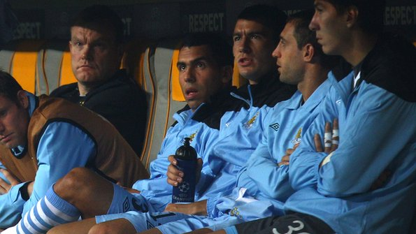 Carlos Tevez on the bench for Manchester City
