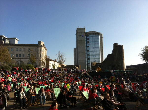 Crowd watching rugby at BBC Big Screens