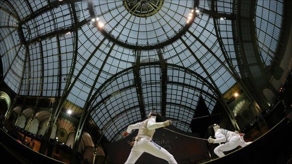 Fencing inside Le Grand Palais, Paris, at the 2010 World Championships