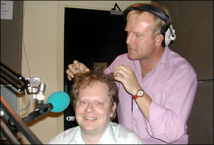 Howard Bentham inspects Alec's hair