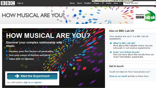 Screen shot of the Musicality Test home page