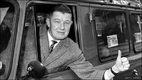 Labour MP Robert Mellish in minibus (1964)