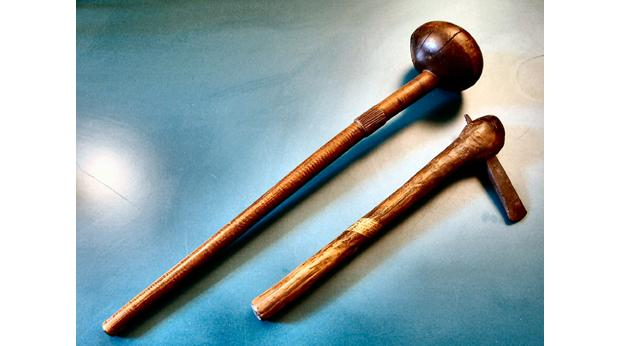 Tribal axe and club. Souvenirs of H.M. Stanley's Second African (Congo) Expedition, 1870s. Copyright: Medway Council