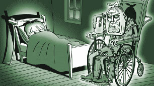 Tiny Tim cowers in bed as the Ghost of Pathetic Disableds appears in his wheelchair
