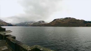 View across Loch Katrine from water inlets..