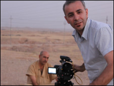 Jiyar Gol filming former Iranian soldier Zahed for The Tale of Two Soldiers