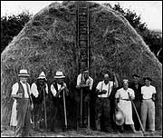 Workers gather around a haystack