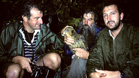 Douglas, Mark and the Codfish Island conservationist during the 1989 search for the kakapo. Photo by Mark Carwardine