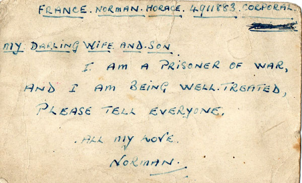 Prisoner of war postcard