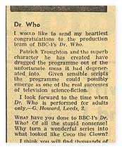 'Radio Times' letters page, 24 November, 1966