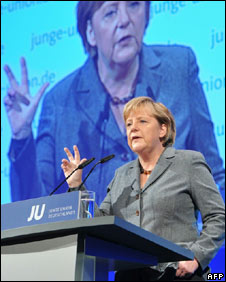 German Chancellor Angela Merkel addresses a meeting of young Christian Democrats in Potsdam, 16 October