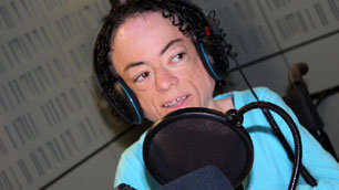 Liz Carr at the Ouch! talk show studios