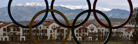 A view of Sochi through the Olympic rings