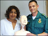 Rupal Rajnai with a first aid model and a First Responder