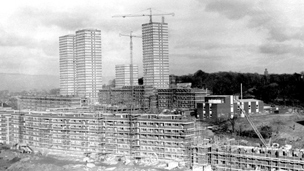 Black and white view of Balgrayhill Housing Estate under construction.