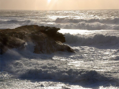 Mountainous seas off the Anglesey coast by Mr Lyn Adams from Llanfair P.G