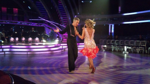 Rory Bremner and Erin Boag dancing in rehearsal.