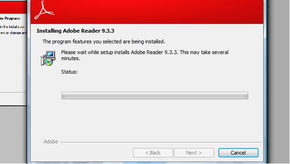 Reader download step 9 – Installing Adobe Reader