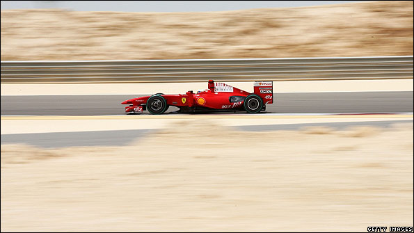 The Ferrari of Kimi Raikkonen in action in Bahrain