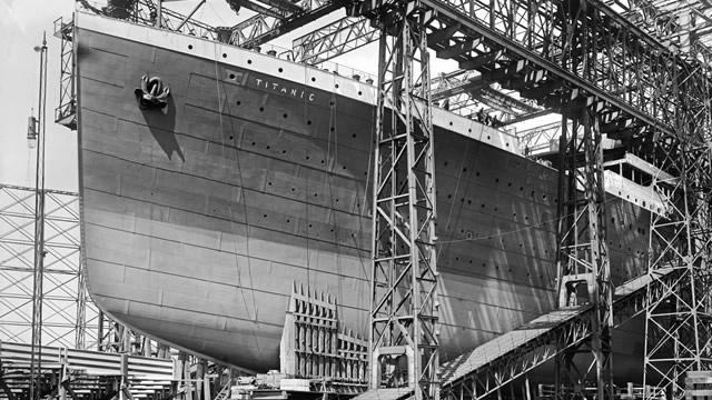 Titanic under construction on slip three of the Harland and Wolff shipyard (National Museums Northern Ireland Collection Harland & Wolff, Ulster Folk & Transport Museum)