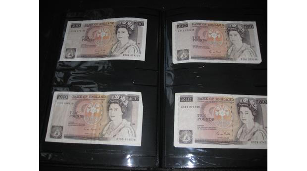 Old British Ten Pound Notes