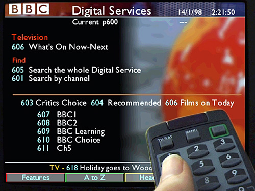 Proposed design for TV listings section from 1998