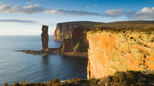 Old Man of Hoy rock stack in evening light