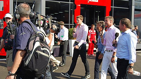 Jake Humphrey, Eddie Jordan, David Coulthard and Martin Brundle after the Italian Grand Prix
