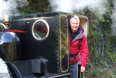 Derek on a steam train at Abergynolwyn