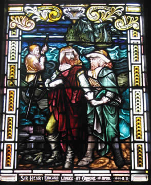 Sir Henry Dowcra lands at Culmore fort; stained glass window in the Guildhall, Derry