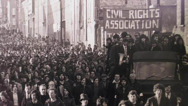 Demonstrators on a civil rights march through the streets of Londonderry before the shootings on Bloody Sunday